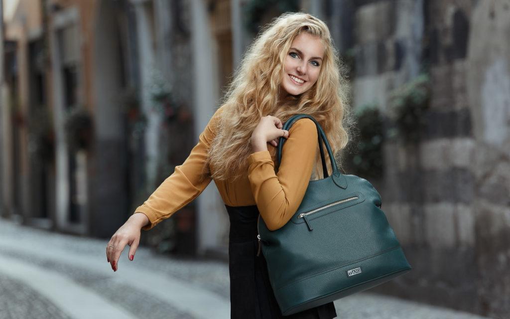 Tasche Modell Venezia Weekend Farbe petrolio Tiano Collection Como