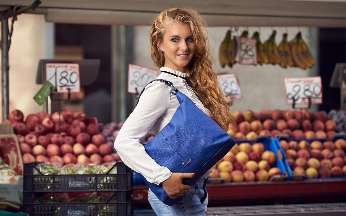 Handbag model Como Tote color bluette Tiano Collection Como