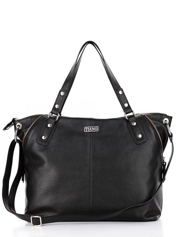 Tiano Collection Handbag Milano Shopper Color Black Front-Open