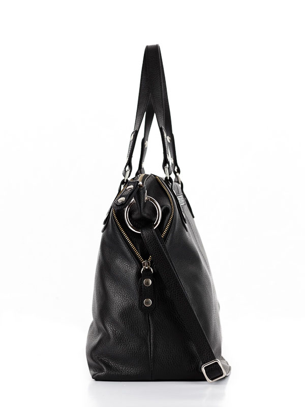Tiano Collection Handbag Milano Shopper Color Black Side A Open
