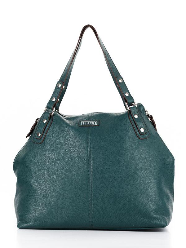 Tiano Collection Handbag Milano Shopper Color Petrolio Front Closed