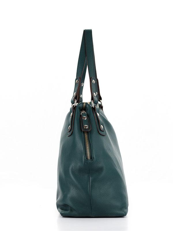 Tiano Collection Handbag Milano Shopper Color Petrolio Side A Closed