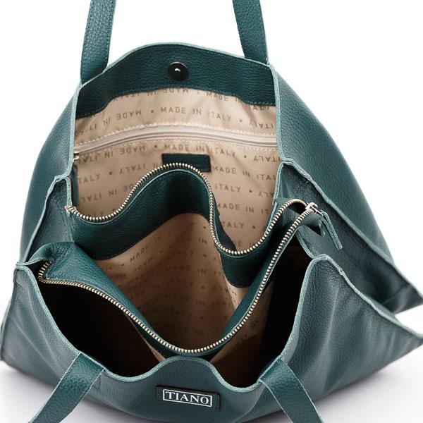 Tiano Collection Handbag Rimini Shopper Color Petrolio Inside