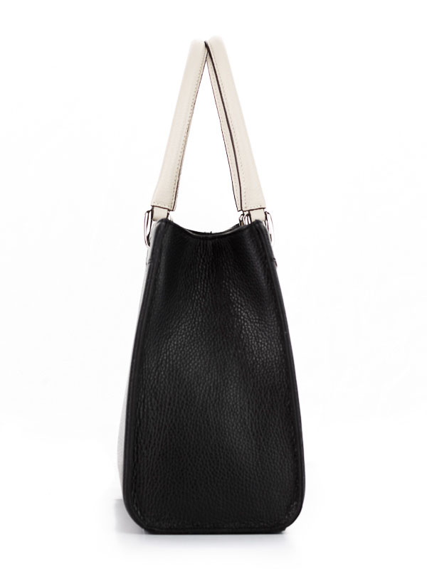 Tiano Collection Handbag Roma Saddler Color Black and Beige Side A