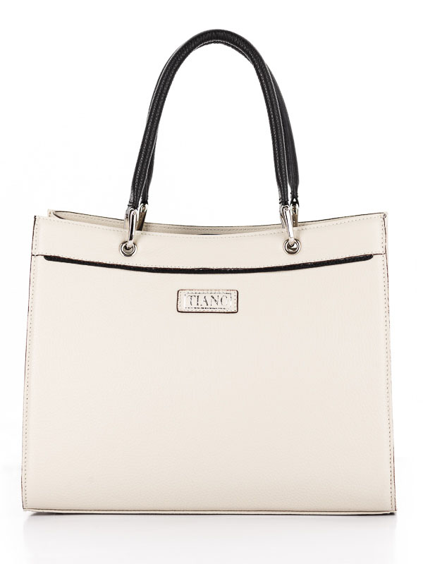 Tiano Collection Handbag Roma Saddler Color Beige and Black Front