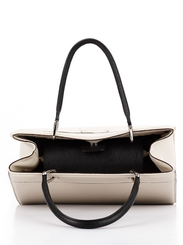 Tiano Collection Handbag Roma Saddler Color Beige and Black Inside