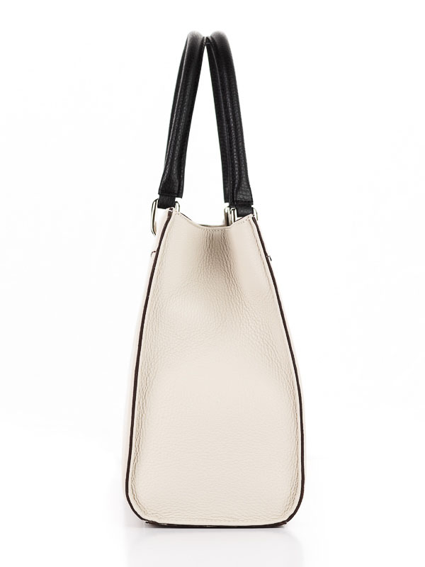 Tiano Collection Handbag Roma Saddler Color Beige and Black Side A