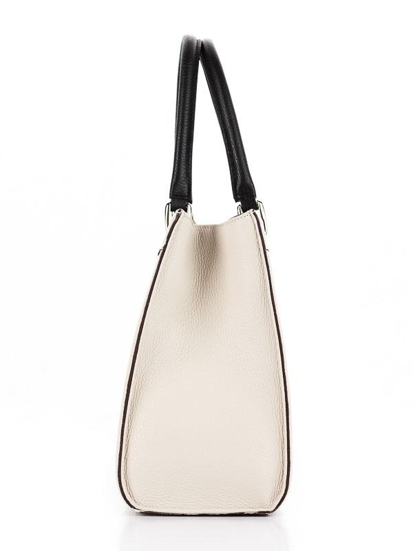 Tiano Collection Handbag Roma Saddler Color Beige and Black Side B