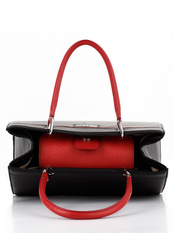Tiano Collection Handbag Roma Saddler Color Black and Red Inside