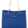 Tiano Collection Handbag Roma Saddler Color Bluette and Beige Front