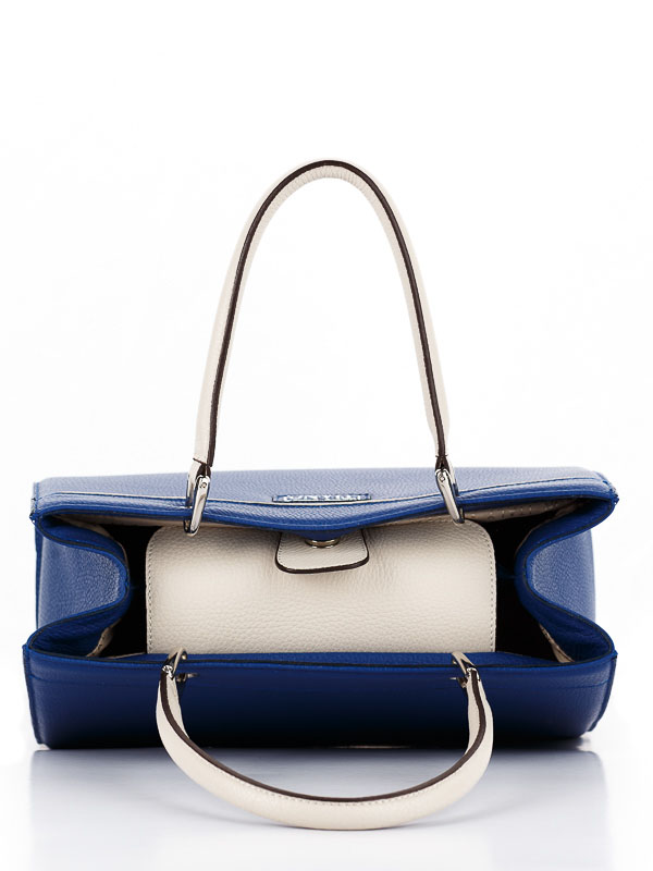 Tiano Collection Handbag Roma Saddler Color Bluette and Beige Inside